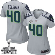 NFL Derrick Coleman Seattle Seahawks Women's Elite Alternate Super Bowl XLVIII Nike Jersey - Grey