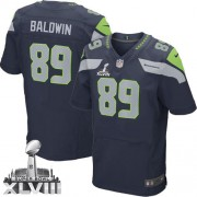 NFL Doug Baldwin Seattle Seahawks Elite Team Color Home Super Bowl XLVIII Nike Jersey - Navy Blue