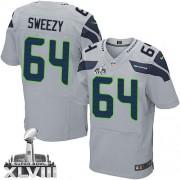 NFL J.R. Sweezy Seattle Seahawks Elite Alternate Super Bowl XLVIII Nike Jersey - Grey
