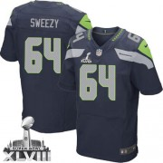 NFL J.R. Sweezy Seattle Seahawks Elite Team Color Home Super Bowl XLVIII Nike Jersey - Navy Blue
