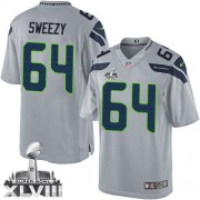 NFL J.R. Sweezy Seattle Seahawks Limited Alternate Super Bowl XLVIII Nike Jersey - Grey