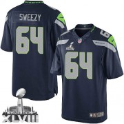 NFL J.R. Sweezy Seattle Seahawks Limited Team Color Home Super Bowl XLVIII Nike Jersey - Navy Blue