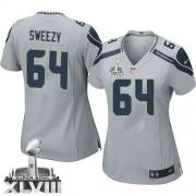 NFL J.R. Sweezy Seattle Seahawks Women's Elite Alternate Super Bowl XLVIII Nike Jersey - Grey