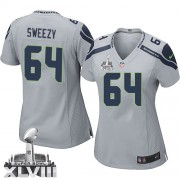 NFL J.R. Sweezy Seattle Seahawks Women's Limited Alternate Super Bowl XLVIII Nike Jersey - Grey
