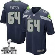 NFL J.R. Sweezy Seattle Seahawks Youth Elite Team Color Home Super Bowl XLVIII Nike Jersey - Navy Blue
