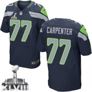 NFL James Carpenter Seattle Seahawks Elite Team Color Home Super Bowl XLVIII Nike Jersey - Navy Blue