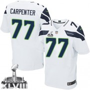 NFL James Carpenter Seattle Seahawks Elite Road Super Bowl XLVIII Nike Jersey - White
