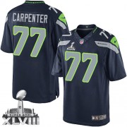 NFL James Carpenter Seattle Seahawks Limited Team Color Home Super Bowl XLVIII Nike Jersey - Navy Blue