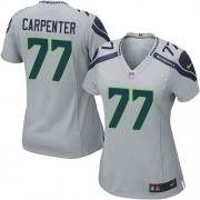 NFL James Carpenter Seattle Seahawks Women's Elite Alternate Nike Jersey - Grey