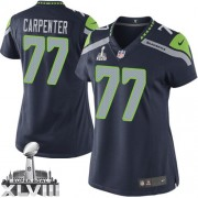 NFL James Carpenter Seattle Seahawks Women's Elite Team Color Home Super Bowl XLVIII Nike Jersey - Navy Blue