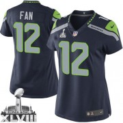 NFL 12th Fan Seattle Seahawks Women's Elite Team Color Home Super Bowl XLVIII Nike Jersey - Navy Blue
