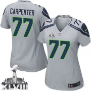 NFL James Carpenter Seattle Seahawks Women's Limited Alternate Super Bowl XLVIII Nike Jersey - Grey