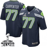 NFL James Carpenter Seattle Seahawks Youth Elite Team Color Home Super Bowl XLVIII Nike Jersey - Navy Blue