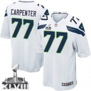 NFL James Carpenter Seattle Seahawks Youth Elite Road Super Bowl XLVIII Nike Jersey - White