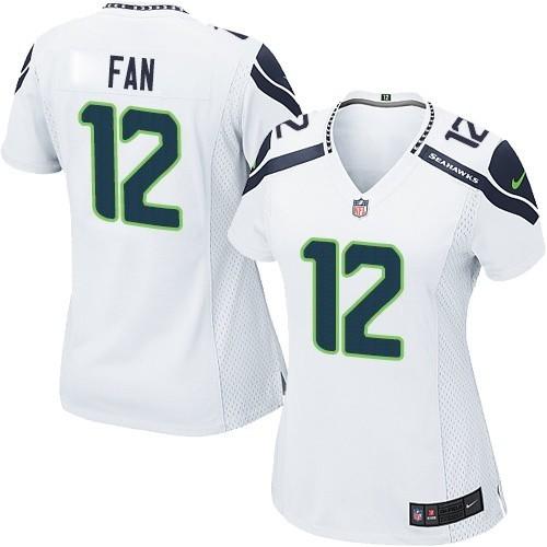 NFL 12th Fan Seattle Seahawks Women's Elite Road Nike Jersey - White