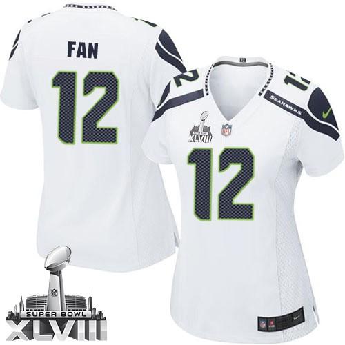 NFL 12th Fan Seattle Seahawks Women's Elite Road Super Bowl XLVIII Nike Jersey - White