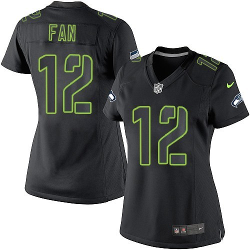 NFL 12th Fan Seattle Seahawks Women's Game Nike Jersey - Black Impact