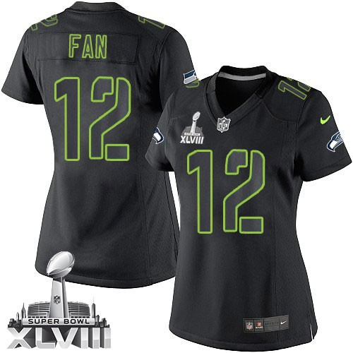 NFL 12th Fan Seattle Seahawks Women's Game Super Bowl XLVIII Nike Jersey - Black Impact