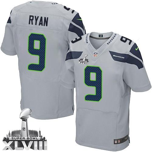 NFL Jon Ryan Seattle Seahawks Elite Alternate Super Bowl XLVIII Nike Jersey - Grey