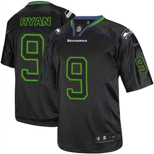 NFL Jon Ryan Seattle Seahawks Elite Nike Jersey - Lights Out Black