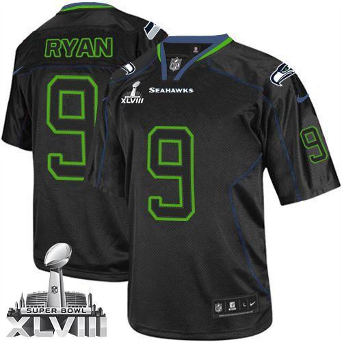 NFL Jon Ryan Seattle Seahawks Elite Super Bowl XLVIII Nike Jersey - Lights Out Black