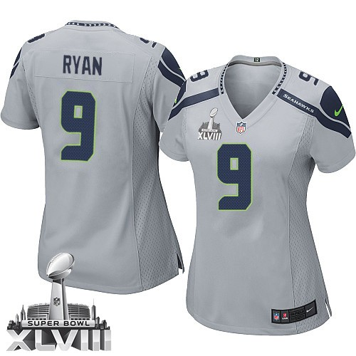 NFL Jon Ryan Seattle Seahawks Women's Elite Alternate Super Bowl XLVIII Nike Jersey - Grey