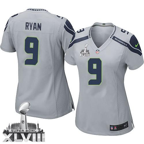 NFL Jon Ryan Seattle Seahawks Women s Elite Alternate Super Bowl XLVIII  Nike Jersey - Grey da042cebb