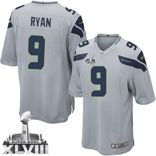 NFL Jon Ryan Seattle Seahawks Youth Elite Alternate Super Bowl XLVIII Nike Jersey - Grey
